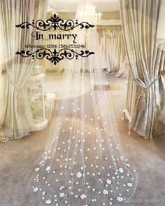 2017 New 3D Floral Cathedral Train Wedding Veils White Ivory One Layer Tulle Princess Cheap Arabic Bridal Veils For Beach Country Weddings Cathedral Train Bridal Veils Wedding Veils 2017 2017 Wedding Veils Online with $77.72/Piece on In_marry's Store | DHgate.com