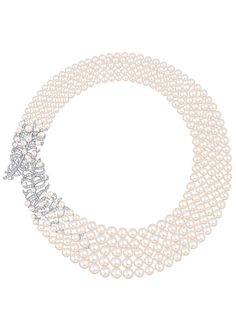 """Chanel - Les Perles de Chanel - """"Plume Perlée de CHANEL"""" necklace in white gold set with 362 brilliant-cut diamonds with a total weight of 5 carats and 320 cultured Japanese pearls from 2.8 to 9.5mm in diameter"""