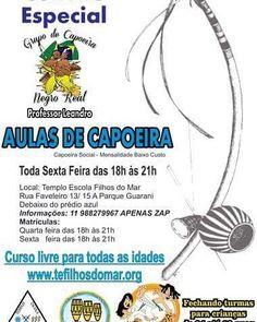"""5 curtidas, 1 comentários - Filhos do Mar (@tefilhosdomar) no Instagram: """"❤️ #Convite #Especial: #Aulas de #Capoeira 💙 Professor Leandro do Grupo de Capoeira negro Real…"""""""