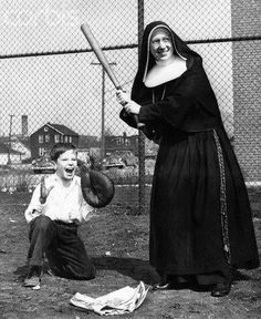 Sister playing baseball with the kids - not at all shocking when you know plenty of religious - consecrated