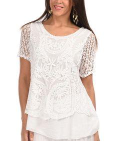 Look what I found on #zulily! White Crochet Overlay Scoop Neck Top #zulilyfinds