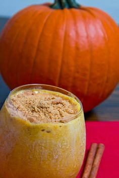 Pumpkin Pie Milkshake  2 cups vanilla frozen yogurt  1/4 cup milk  1/3 cup pumpkin puree  1/4 teaspoon vanilla  1/2 teaspoon cinnamon  1/4 teaspoon ginger  1/8 teaspoon cloves  1/8 teaspoon nutmeg  2 tablespoons brown sugar  2 tablespoon gingersnap cookies (crumbled, optional)  1. Blend everything other than the gingersnap cookies in a blander.  2. Serve garnished with the gingersnap cookies.