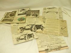 VINTAGE CUTOUTS FOR CRAFTING, SCRAPBOOKING, OR ALTERED ART (STEAMPUNK):  PARTIAL ADS FOR VARIOUS AUTOMOBILES & MACHINERY ITEMS!    EXACT YEARS ARE UNKNOWN!    *THESE ARE PARTIAL AS WE ARE SHOWING THE BACKSIDES OF WHAT WAS ORIGINALLY CUTOUT OF THE MAGAZINES. IT JUST SO HAPPENS THAT THERE ARE PRINT ADS ON THE OTHER SIDE!  A NICE VINTAGE COLLECTIBLE! NICE ART WORK COLLECTIBLE OR SOMETHING THAT CAN BE USED FOR DECOUPAGE, OR SCRAP-BOOKING!