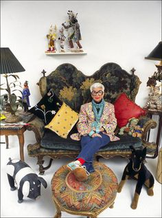 Iris Apfel....What's not to love starting with Iris ....Amazzzzzing Eclectic room.