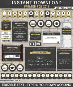 Editable Graduation Party Printables, Invitations and Decorations | Class of 2018 | Gold Glitter and Chalkboard | Printable DIY Templates | $12.50 INSTANT DOWNLOAD via SIMONEmadeit.com