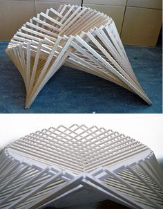 Mind-Warping Wood Folding Chair Looks Curved, Packs Flat; by Robert van Embricqs