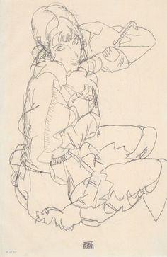 line work  Egon Schiele, Sitzendes Mädchen, 1914.
