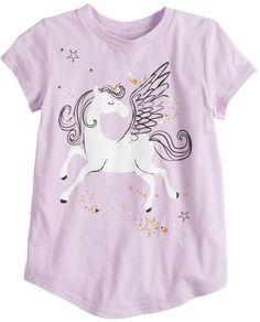 e85a14a7 Girls 4-10 Jumping Beans Short-sleeve Glittery Unicorn Graphic Tee Unicorn  Graphic,