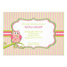 Modern Pink & Green Paisley Owl Baby Shower Invite