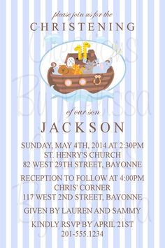 Noah's Ark Custom Baptism Invitation  Can be adjusted for any occasion!