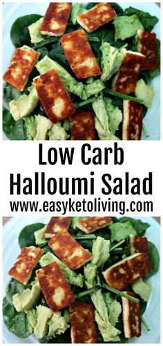 Low Carb Halloumi Salad Recipe - Easy Keto Grilled Halloumi Cheese Recipes that's Atikins diet friendly and low in carbs and high in healthy fats with avocado.