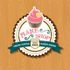 Bake Shop Sticker With Cupcake and Ribbon royalty-free stock vector art