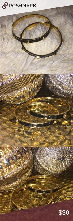 J.Crew bracelet set 2pc set Black and Gold hard ware Even better when stacked Very elegant nice pieces j.crew Jewelry Bracelets