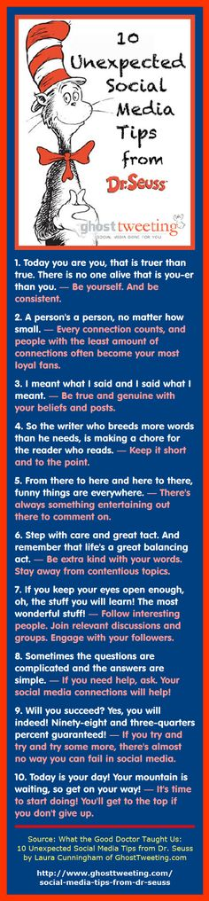 Here are 10 social media tips inspired by the words of Dr. Seuss. The original (and longer) article was written by Laura Cunningham of GhostTweeting.com: What the Good Doctor Taught Us: 10 Unexpected Social Media Tips from Dr. Seuss. #socialmedia #socialmediatips
