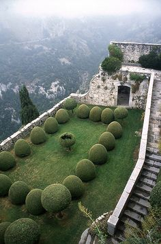 Chateau de Gourdon, France.  This garden is named - The Italian terrace.  Link to Chateau - http://www.chateau-gourdon.com/html/j03.htm