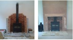 Fake chimney breast and installation of multi - fuel stove