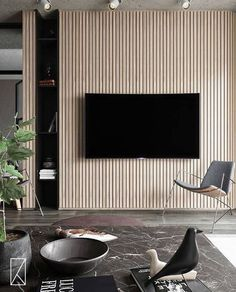 45 Modern Home Entertainment Centers That Will Inspired- Homemy design Home Design, Home Interior Design, Design Ideas, Design Trends, Design Inspiration, Furniture Inspiration, Living Room Tv, Living Room Interior, Tv Feature Wall