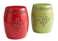 Check out these ceramic barrell stools.  Wish they also came in white!!!  Would work great indoors or out!