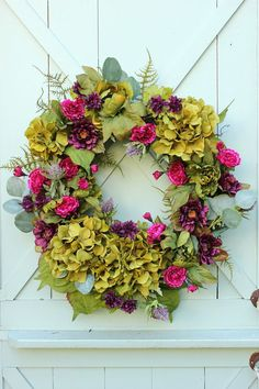 Hydrangea Wreath ~ Late Summer Wreath ~ Fall Wreath ~ Cottage Wreath