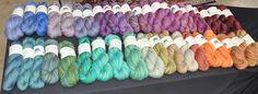 A color gradient, of sorts, of handspun yarn