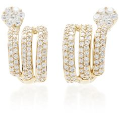 Hueb     Diamond Flower Earrings (66.415.000 IDR) ❤ liked on Polyvore featuring jewelry, earrings, gold, diamond flower earrings, spiral earrings, blossom jewelry, earring jewelry and diamond earrings