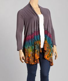 Another great find on #zulily! Gray Tie-Dye Open Cardigan - Plus by Windcircle #zulilyfinds