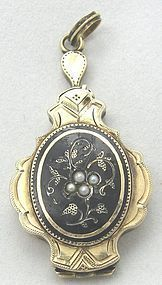 Victorian Gold & Enamel Locket – Mourning