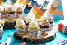 Tribal Party Decor - Cupcakes with Arrow Toppers & Wrappers - It Girl Approved