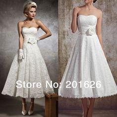 Banco de branco ou marfim A-Line querida mangas Com Handmade Flor Chá Vestidos de casamento do laço US $89.99