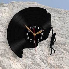 Rock Climber, Climbing, Vinyl Record Wall Clock 12 inch (30cm) / Modern, Mountaineering, Black Wall Art Decor Laser cut of Vintage Vinyl Record