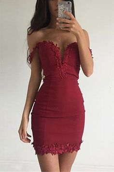 Burgundy Plunge Off The Shoulder Mini Dress with Lace Details - US$19.95 -YOINS