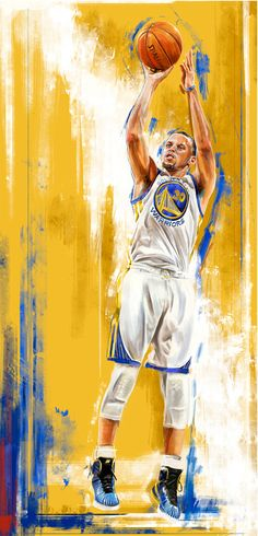 Stephen Curry, Golden State Warriors by Robert Bruno.
