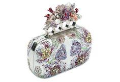 Embroidered flower four-ring short clutch, Alexander McQueen