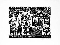 """Festas juninas ou Festas dos santos populares são celebrações brasileiras e portuguesas, historicamente relacionadas com a festa pagã do solstício de verão, que era celebrada no dia 24 de junho, segundo o calendário juliano (pré-gregoriano) e cristianizada na Idade Média como """"festa de São João"""".  No Brasil, recebeu o nome de junina (chamada inicialmente de joanina, de São João), porque acontece no mês de junho. Além de Portugal, a tradição veio de outros países europeus cristianizados dos… Artist, Portugal, Summer Solstice, Woodblock Print, Initials, Literatura, Artists"""