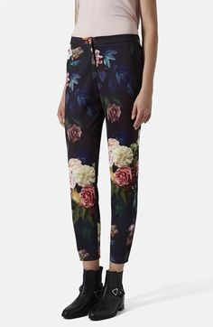 Topshop Rose Print Cigarette Trousers available at #Nordstrom