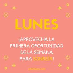 Hoy es lunes... ¡✨Primera oportunidad para empezar bien la semana✨! Piensa en positivo y no pierdas la oportunidad de sonreír #HazSmartSalus #FelizLunes #HoyPuedeSerUnGranDía