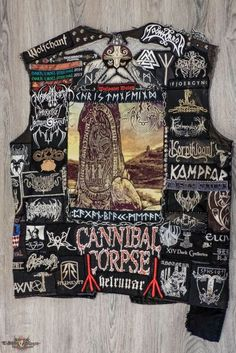 Christenfeind Mainly German Pagan, Viking and Pagan Black Metal. Other Pagan things and my first favorite Band Cannibal Corpse. Combat Jacket, Battle Jacket, Thrasher, Punk Rock Fashion, Lolita Fashion, Fashion Boots, Metal Band Logos, Emo Dresses, Party Dresses