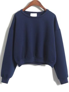 To find out about the Navy Long Sleeve Crop Sweatshirt at SHEIN, part of our latest Sweatshirts ready to shop online today! Sweatshirt Outfit, Sweater Hoodie, Blue Hoodie, Girls Fashion Clothes, Fashion Outfits, Sweet Shirt, Stylish Outfits, Cool Outfits, Navy Blue Shirts