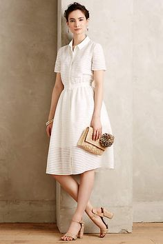at anthropologie Sheerstripe Shirtdress Dress Me Up, Special Occasion Dresses, Dress Outfits, Work Outfits, Dress To Impress, Retro, Dress Skirt, Short Sleeve Dresses, Short Skirts