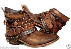 cool Vtg Upcycled Distressed Brown Cowhide Buckled Boots Custom Leather 8M   eBay...