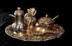 Zilveren Djokja thee/koffieservies