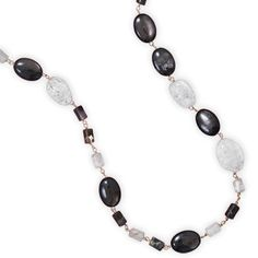 Opal Quartz, Rock Crystal and Hypersthene Necklace