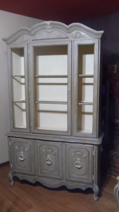 China Cabinet Painted in Annie Sloans Chalk Paint Coco, Old Ochre & table top also has Pure White, Country Grey & French Linen