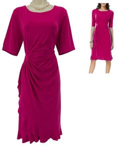14W 1X NWT SEXY Womens FUSCHIA CASCADE DRESS Faux-Wrap Day/Evening PLUS SIZE NEW #Dressbarn #FauxWrap #Versatile