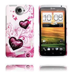 Valentine (Kaksi Violettia Sydäntä) HTC One X Suojakuori Purple Hearts, Htc One, Cover, Pink, Pink Hair, Roses