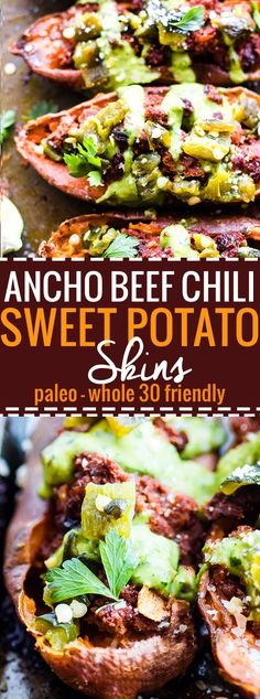 Ancho Beef Chili stuffed & baked into Sweet Potato Skins for an easy Paleo appetizer or meal! Healthy Ancho Beef Chili sweet potato skins to feed a crowd. (Gluten Free Recipes For A Crowd) Healthy Superbowl Snacks, Paleo Appetizers, Vegan Snacks, Appetizer Recipes, Easy Potato Recipes, Paleo Recipes, Protein Recipes, Snack Recipes, Alkaline Recipes