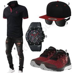 Herren-Outfit in Schwarz-Rot mit Edifice Chronograph (m506) #outfit #style #fashion #menswear #mensfashion #inspiration #shirt #cloth #clothing #herrenoutfit #männeroutfit #outfitherren #outfitmänner #shirt #mode #styling #sneaker #menstyle