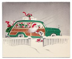 Retro Santa drives vintage car (wood panelling) century Christmas card Source: JMiller, original image missing Merry Christmas, Christmas Countdown, Christmas Love, Christmas Pictures, Christmas Greetings, Christmas Holidays, Christmas Ideas, Xmas Pics, Christmas Travel