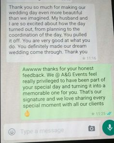 When you are at a client meeting and a previous client suddenly sends a message about how you and your team made their day special and memorable then it means we're doing something right @ A&G Events #clients #clientsfirst #testimonial #proudofourselves #glamourous #glamouroustouch #weddingday #appreciation #thankyou #message #thankyousomuch #teampower #teamwork #happyclient #glamours #ambianceandglamourweddings #ambianceandglamour #wowfactor #weplanevents #wedecorate #loveit #wecordinate…