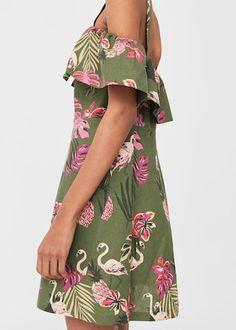 Off-shoulders linen dress -  Women | MANGO USA